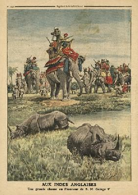 A rhinoceros hunt in honour of King George V (1865-1936), illustration from ''Le Petit Journal'', su