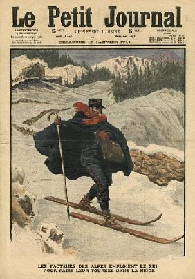 Alpine postmen using ski during their rounds in the snow, illustration from ''Le Petit Journal'', su