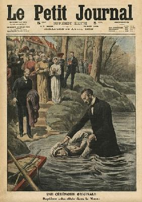 An unusual ceremony, an Adventist baptism in La Marne, illustration from ''Le Petit Journal'', suppl