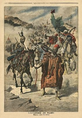 Anarchy in Morocco, plundering between tribes, illustration from ''Le Petit Journal'', supplement il