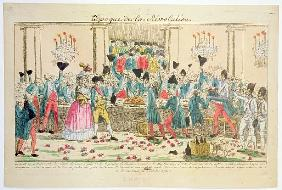 Banquet given on 1 October 1789 at the Versailles Opera House the King''s bodyguards to welcome the
