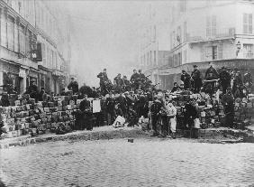Barricade at the entrance of the Faubourg du Temple, Paris, during the Commune, 18 March 1871 (b/w p
