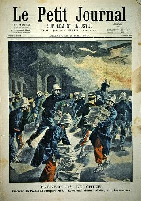 Burning of the Imperial Palace in Peking during the Boxer rebellion of 1900-01, cover illustration o