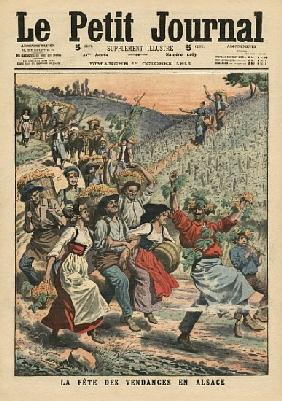 Celebrating the wine harvest in Alsace, illustration from ''Le Petit Journal'', supplement illustre,