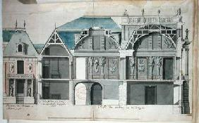 Cross-section of a wing of the Chateau de Versailles constructed by Louis Le Vau ((1612-70)