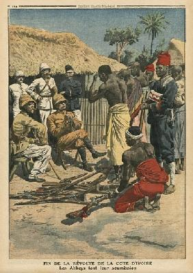 End of the revolt of the Cote d''Ivoire, the Abbeys surrendering to commander Nogues, illustration f