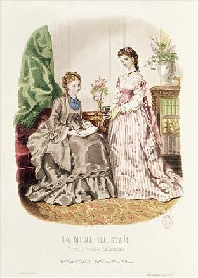 Fashion plate showing ballgowns, illustration from ''La Mode Illustree''