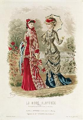 Fashion plate showing hats and dresses, illustration from ''La Mode Ilustree''