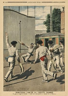 Fatal Basque Pelota, illustration from ''Le Petit Journal'', supplement illustre, 26th May 1907