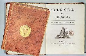 ''Le Code Civil des Francais'', showing the binding and title page, first edition pub. 1804