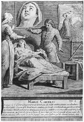 Miraculous healing of a blind woman, Marie Carteri, on the tomb of Deacon Francois de Paris at the p