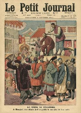 Modernisation of China, Chinese having their pigtail cut off in Shanghai, illustration from ''Le Pet