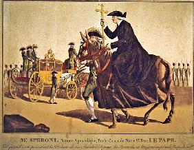 Monsignor Speroni carrying the papal cross, precedes Pope Pius VII on their way to Notre-Dame Cathed