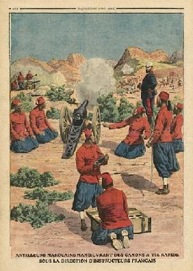 Moroccan artillerymen using cannons under the command of French instructors, illustration from ''Le