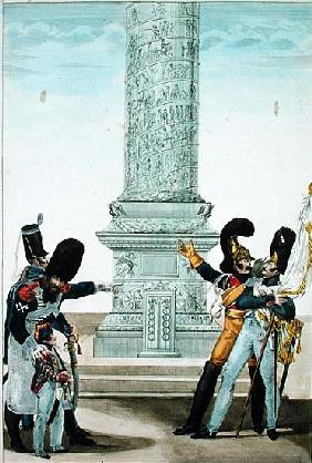 ''Oh how proud one is to be French when you look at this column'', caricature of soldiers at the Col