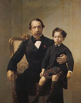 Portrait of the Emperor Louis-Napoleon Bonaparte (1808-73) and his son