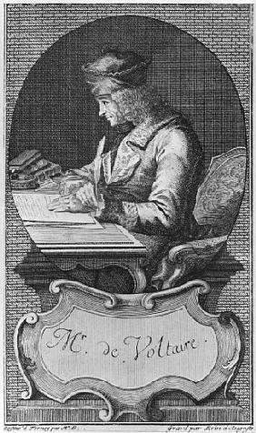 Portrait of Voltaire at Ferney; engraved by Joseph Friedrich Rein (1720-95)