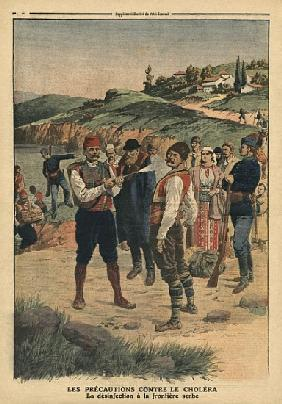 Precautions taken to prevent cholera, disinfection at the Serbian border, illustration from ''Le Pet