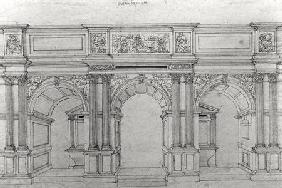 Rood Screen of the church Saint-Germain-l'Auxerrois design by Pierre Lescot (1515-78) (pen & ink on