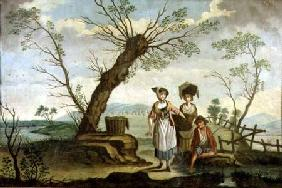 Rustic landscape with washerwomen and a peasant