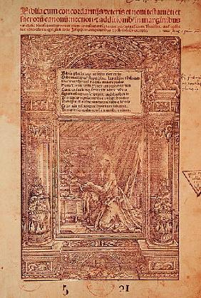 St. Jerome in his Studiolo, title page of a Bible, printed J. Marion, Lyon