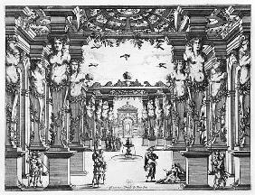 Stage design Giacomo Torelli (1608-78) for ''Mirame'' performed in 1641 at Theatre Petit Bourbon in