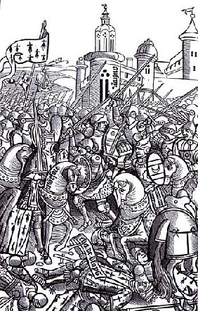 The Battle of Auray, from ''Chroniques de Bretagne'' Alain Bouchard, published 1514