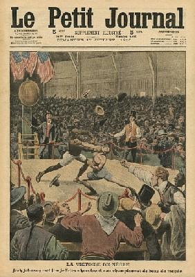 The victory of the negro, Jack Johnson knocks Jim Jeffries out at the world boxing championship, ill