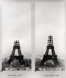 Two views of the construction of the Eiffel Tower, Paris, 14th October and 14th November 1888 (b/w p