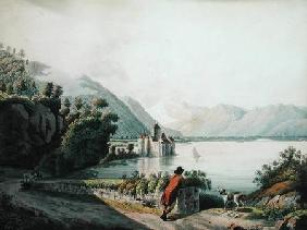 View of the Chateau de Chillon, Lake Geneva