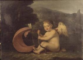 Winged Cupid, sailing a boat with quiver hull and arrow mast