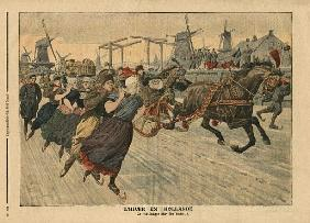 Winter in Holland, ice skating on the canal, illustration from ''Le Petit Journal'', supplement illu
