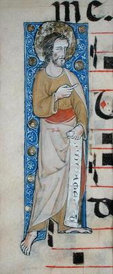 An apostle holding a phylactery, 'Judica me deus', c.1320 (vellum)