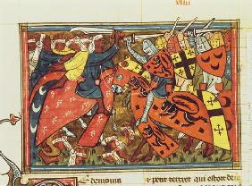 Fr 22495 f.43 Battle between Crusaders and Moslems, from Le Roman de Godefroi de Bouillon (vellum)