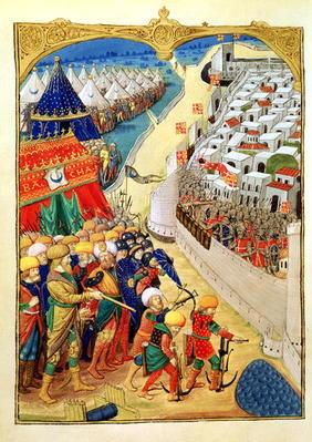 Lat 6067 f.55v The Turkish forces preparing for battle outside the walls of Rhodes in 1480, from 'A