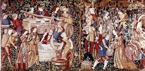 The Grape Harvest, from the 'Workshop on the Banks of the Loire' (tapestry) (see 23083 for detail)