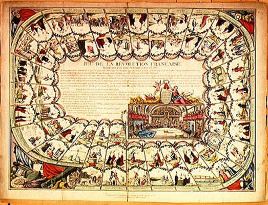 Image: French School, (18th century) - Snakes and ladders board based ...