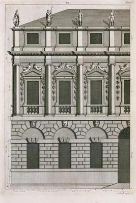 Architectural design demonstrating Palladian proportions, engraved by Bernard Picart (1673-1733) c.1
