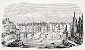 View of the ancient Pont-au-Change, from an engraving of the 'Topography of Paris', from 'Le Moyen A
