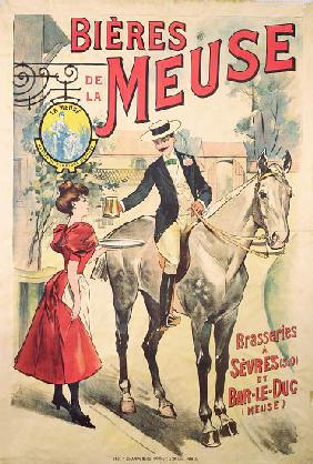 Poster advertising the Bieres de la Meuse at the Brasseries of Sevres and Bar-le-Duc