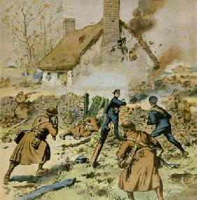Attack by police and British troops on a farm occupied by the Sinn-Fein, cover of 'Le Petit Journal'