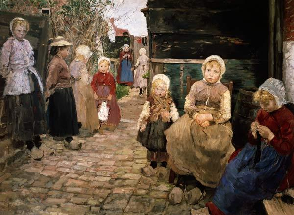 Fisherman children in Sandvoort. (Prestudy to the picture: The hurdy-gurdy man)
