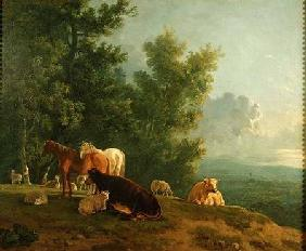 Horses and Cows in a Landscape