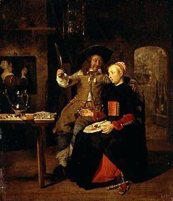Self-portrait with his Mrs Isabella De Wolff in the pub.
