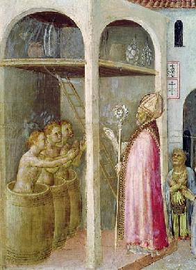 St. Nicholas Resuscitates the Three Children Thrown into Brine Tubs, detail from a predella panel of