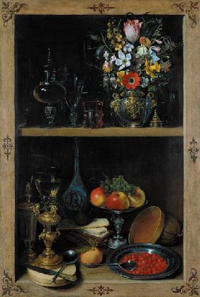 Shelf with flower vase and fruits