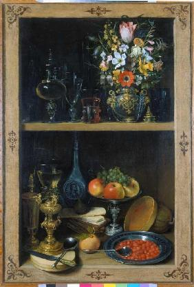 Flegel, Georg : Shelf with flower vase and...