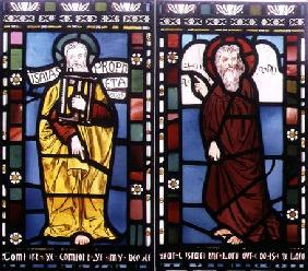 Isaiah and Moses, detail from the Creation Window, 1861 (stained glass) (see 120153)