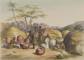 Gudu's Kraal at the Tugala, Women making Beer, plate 26 from 'The Kafirs Illustrated', 1849 (litho)