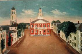 Fireboard depicting a View of Court House Square, Salem
